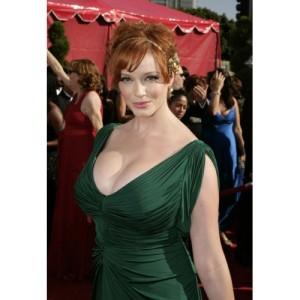 Christina Hendricks Green V-neck Prom Dress 2008 Emmy Awards Red Carpet 2-500x500