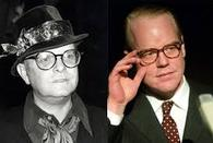 Capote (at left) and Hoffman.